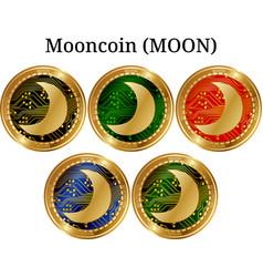 Set of physical golden coin mooncoin moon vector