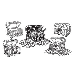 Set of pirate treasure chests in sketch style open vector
