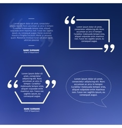 Set of quotes on blue background speech bubble vector image
