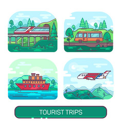 Set summer transport for travel and activity vector