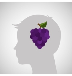 Silhouette head with tasty grapes icon graphic vector