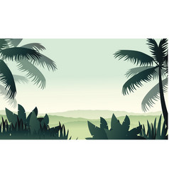Silhouette palm on forest scenery vector