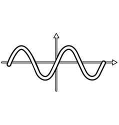 sinewave black color icon vector image