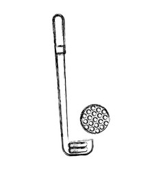 Sketch draw golf club and ball vector