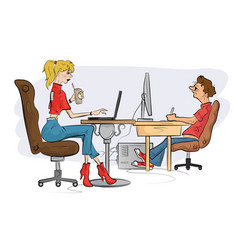 Sketch woman working on lap top using pen vector