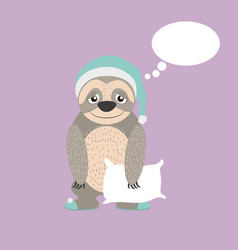 Sloth with pillow and pijama cartoon vector