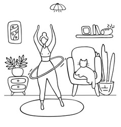 Sport girl twists hoop fitness exercises at home vector