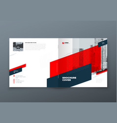 Square brochure design red corporate business vector