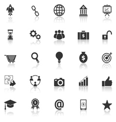 Start up icons with reflect on white background vector
