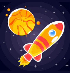 sticker in the form of an orange rocket that fly vector image
