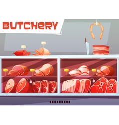 Storefront of butchery shop vector