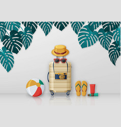 summer travel concept with suitcase sunglasses vector image