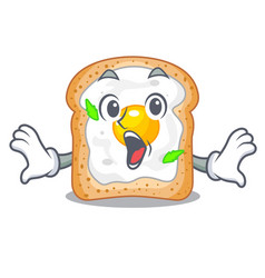 Surprised sandwich with egg above character board vector