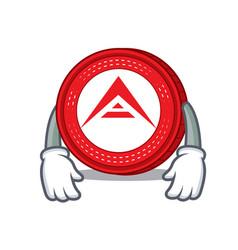 Tired ark coin character cartoon vector