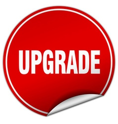 Upgrade round red sticker isolated on white vector