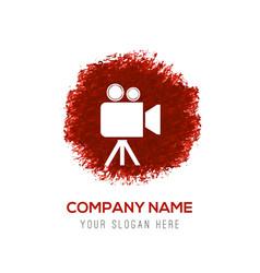 Video camera icon - red watercolor circle splash vector