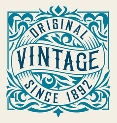 vintage label with floral details vector image