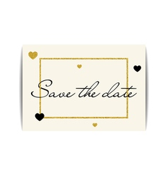 Wedding invitation with gold glitter hearts save vector