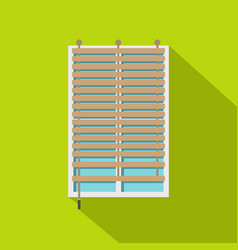 window with wooden jalousie icon flat style vector image