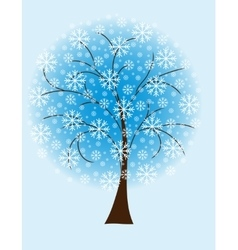 Winter tree from snowflakes vector image
