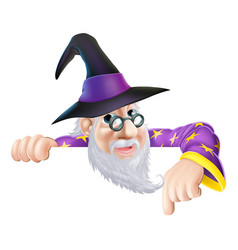 wizard peeking over sign vector image