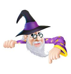 Wizard peeking over sign vector