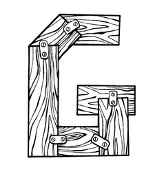 wooden letter g engraving vector image