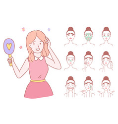 Young woman cleaning and care her face vector