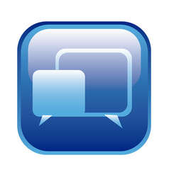 Blue square frame with speech icon vector