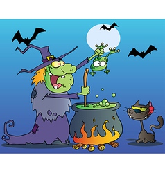 Cat watching a green halloween witch vector