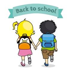 children holding hands back to school vector image vector image