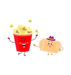 cinema popcorn and vintage movie ticket characters vector image vector image