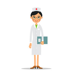doctor woman cartoon female doctor holding in vector image