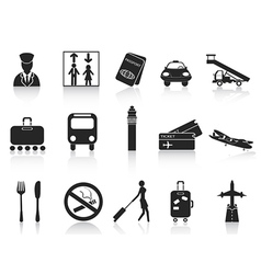 black airport icons set vector image vector image