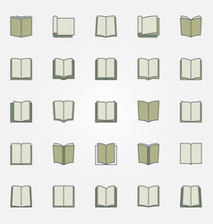 colorful book icons set vector image