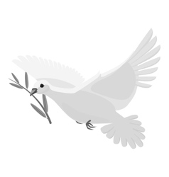 Dove icon gray monochrome style vector image