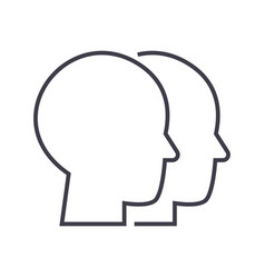heads line icon sign vector image vector image