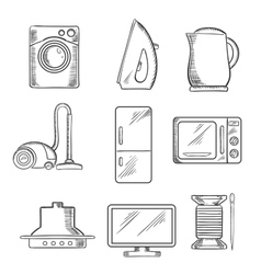 Kitchen and home appliance sketched icons vector image