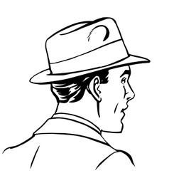 man hat profile line art vector image vector image