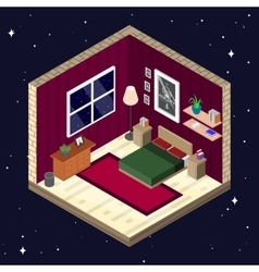 Room interior in isometric style Bedroom with vector image vector image