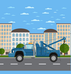 tow truck on road in urban landscape vector image vector image