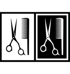 two background with scissors and comb vector image