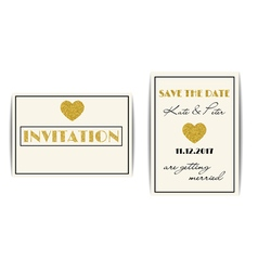 Wedding invitations with gold glitter hearts save vector