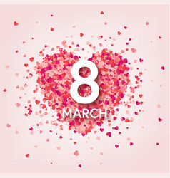 women s day red background with hearts love vector image