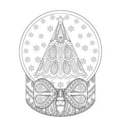 zentangle snow globe with Christmas tree Hand vector image vector image