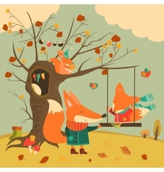 Cute foxes ride on a swing in the autumn forest vector image vector image