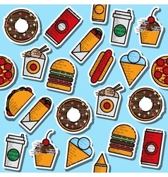 Hand drawn fast food colored pattern vector image vector image