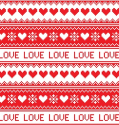 Nordic winter love seamless red heart pattern vector image vector image