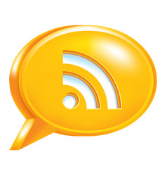 Orange speech bubble icon rss sign or wi-fi signal vector
