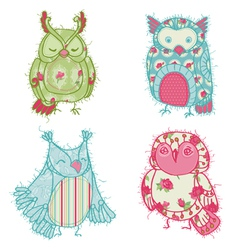 Owl Scrapbook Collection vector image vector image